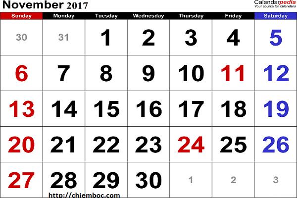 Xem Lịch Vạn Sự Tháng 11/2017 từ ngày 1/11/2017 đến ngày 16/11/2017