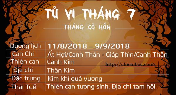 Lịch tháng 7/2018 âm lịch