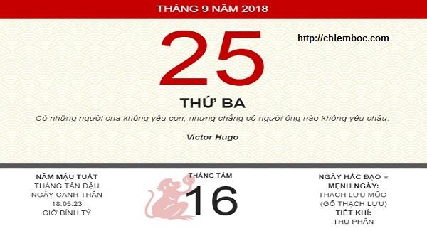 Xem ngày tốt xấu thứ 3 ngày 25/09/2018 dương tức ngày 16/08/2018 âm lịch