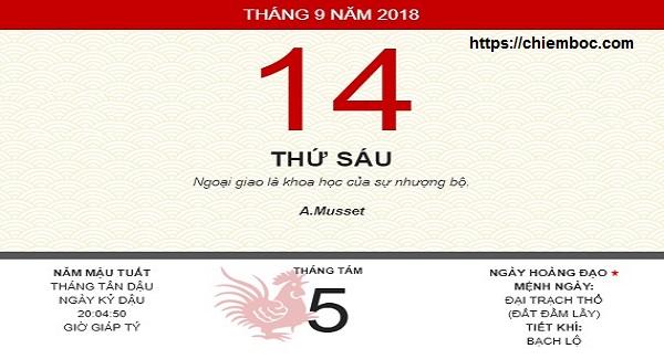 Xem ngày tốt xấu thứ 6 ngày 14/09/2018 dương tức ngày 05/08/2018 âm lịch