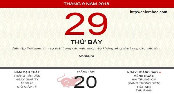Xem ngày tốt xấu thứ 7 ngày 29/09/2018 dương tức ngày 20/08/2018 âm lịch