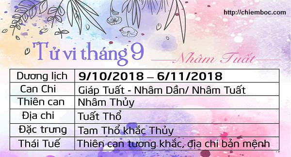 Lịch tháng 9/2018 âm lịch, từ ngày 09/10/2018 - 06/11/2018