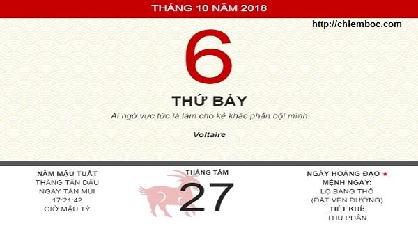 Xem ngày tốt xấu thứ 7 ngày 06/10/2018 dương tức ngày 27/08/2018 âm lịch
