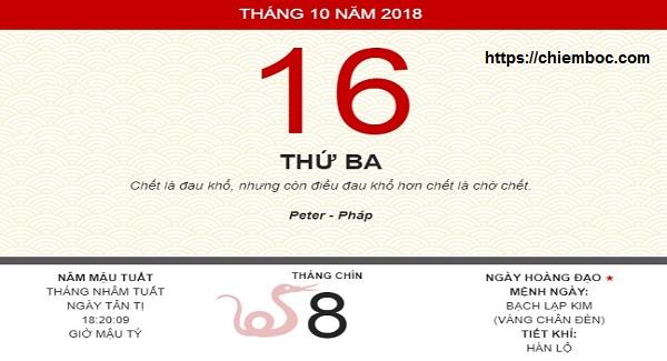 Xem ngày tốt xấu thứ 3 ngày 16/10/2018 dương tức ngày 08/09/2018 âm lịch