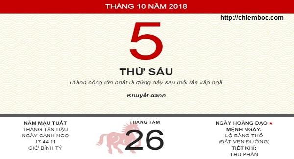 Xem ngày tốt xấu thứ 6 ngày 05/10/2018 dương tức ngày 26/08/2018 âm lịch