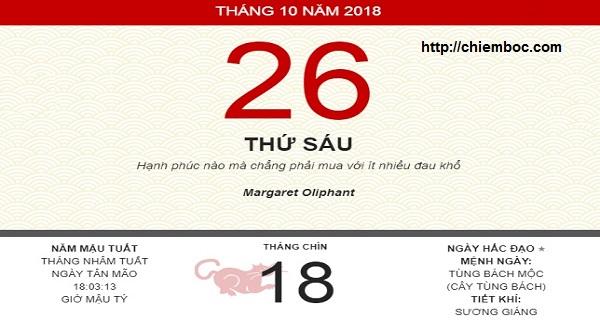 Xem ngày tốt xấu thứ 6 ngày 26/10/2018 dương tức ngày 18/09/2018 âm lịch