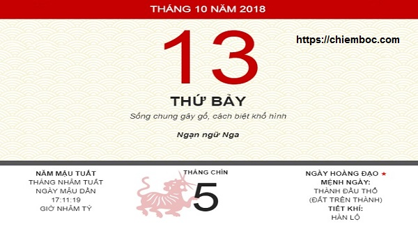 Xem ngày tốt xấu thứ 7 ngày 13/10/2018 dương tức ngày 05/09/2018 âm lịch