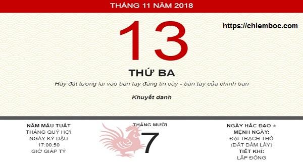 Xem ngày tốt xấu thứ 3 ngày 13/11/2018 dương tức ngày 07/10/2018 âm lịch