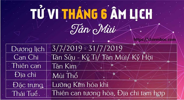 Lịch tháng 6 âm lịch (từ ngày 03/07/2019 – 31/07/2019 dương lịch)