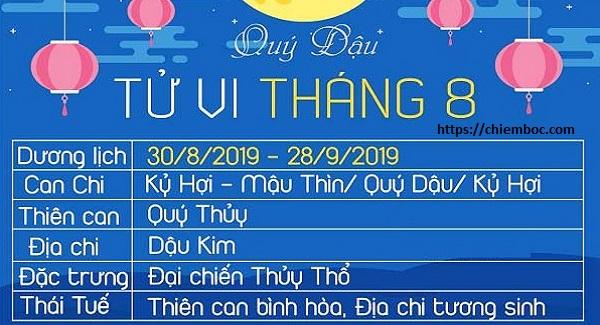 Lịch tháng 08/2019 âm lịch (từ ngày 30/08/2018 - 28/09/2019 dương lịch)
